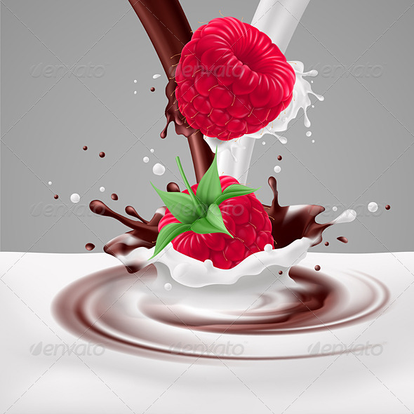 GraphicRiver Raspberries with Milk and Chocolate 7873886