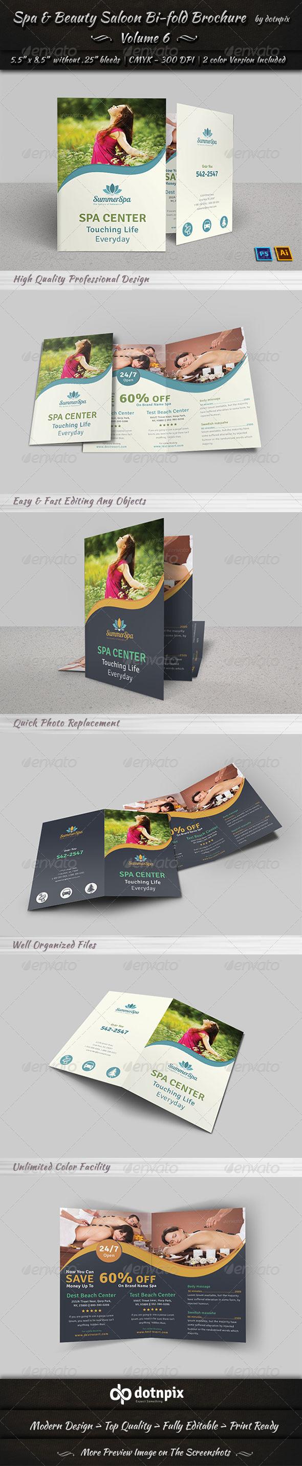 GraphicRiver Spa & Beauty Saloon Bi-fold Brochure Volume 6 7874093