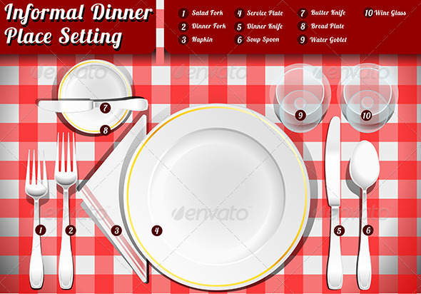GraphicRiver Set of Place Setting Informal Dinner 7874171