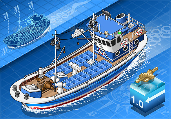 GraphicRiver Isometric Fishing Boat Isolated in Front View 7874182