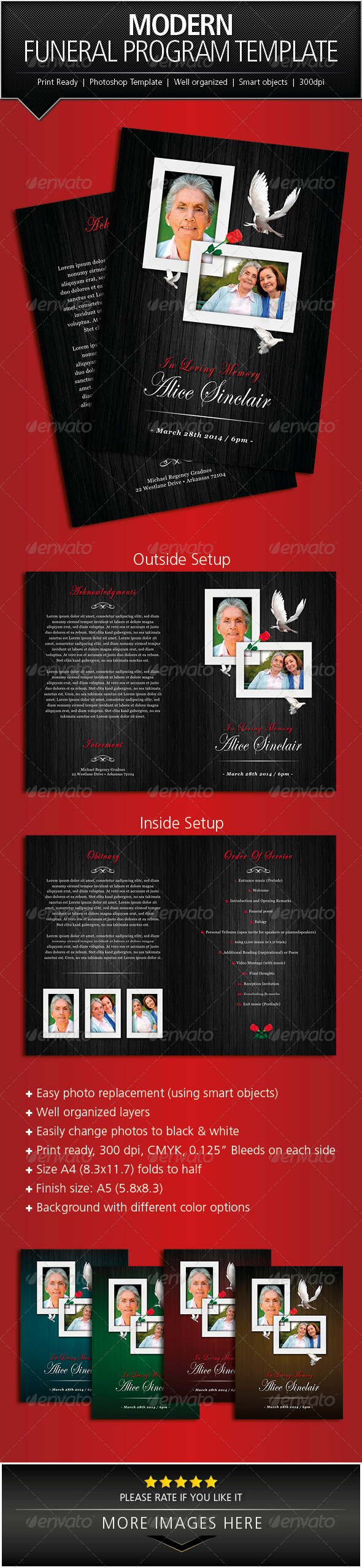 GraphicRiver  Free Printable Funeral Programs Templates