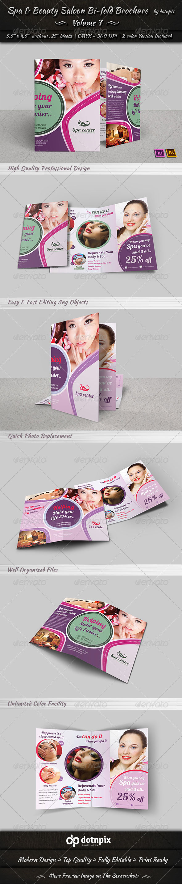GraphicRiver Spa & Beauty Saloon Bi-fold Brochure Volume 7 7874413