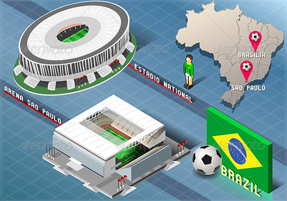 GraphicRiver Isometric Stadium of Brasilia and Sao Paulo 7874469