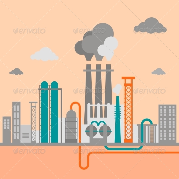 GraphicRiver Vector Illustration of Industrial Factory 7875900