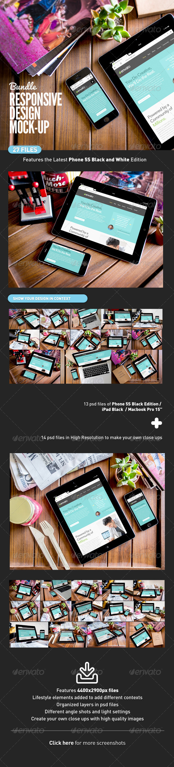 GraphicRiver Responsive Device Screen Mock-Up Bundle 7875914
