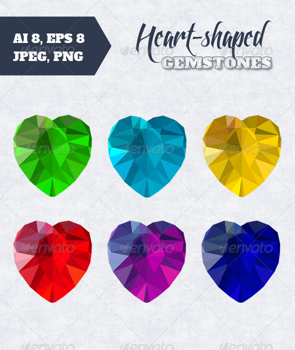 GraphicRiver Set of Heart-Shaped Gemstones 7875923