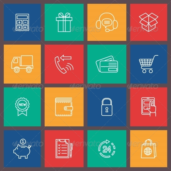 GraphicRiver Shopping E-commerce Icons 7875938