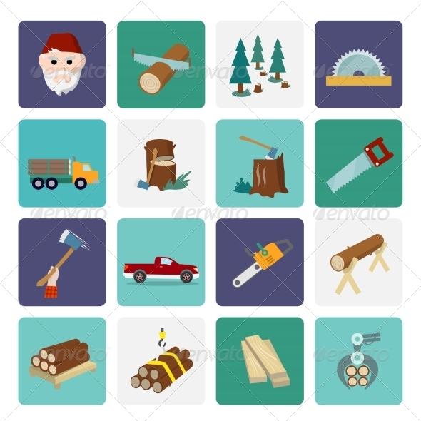 GraphicRiver Lumberjack Icon Set Flat 7875975
