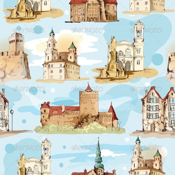 GraphicRiver Old City Sketch Seamless Pattern 7875977