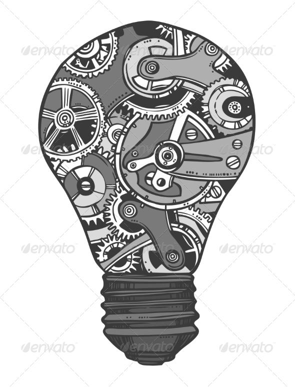 GraphicRiver Gears Lightbulb Sketch 7875990