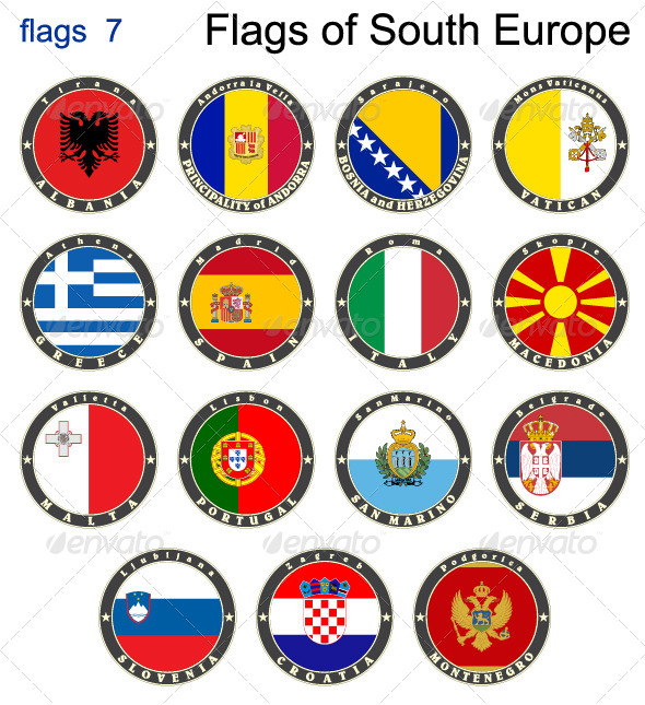 GraphicRiver Flags of South Europe 7876001