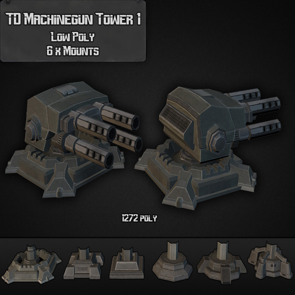 TD Machinegun Tower 01 - 3DOcean Item for Sale