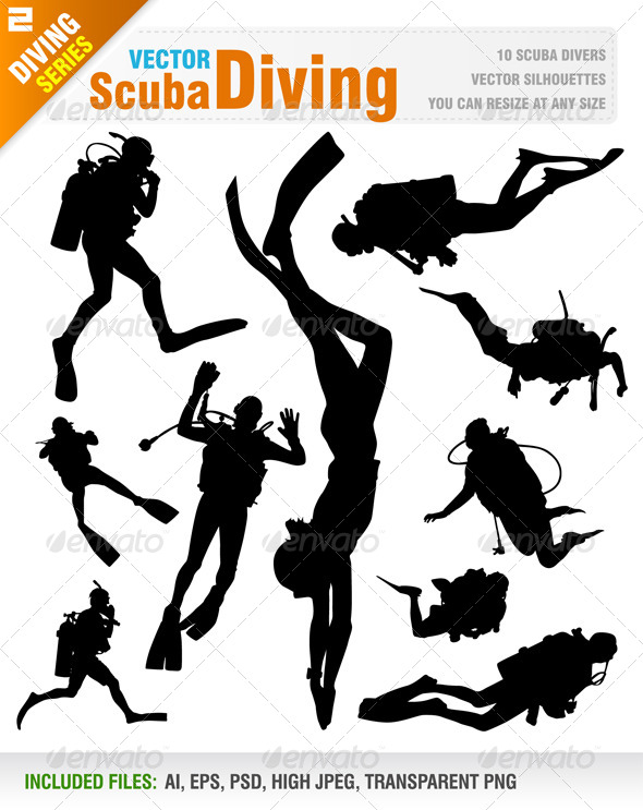 GraphicRiver Scuba Diving Silhouettes 7876030