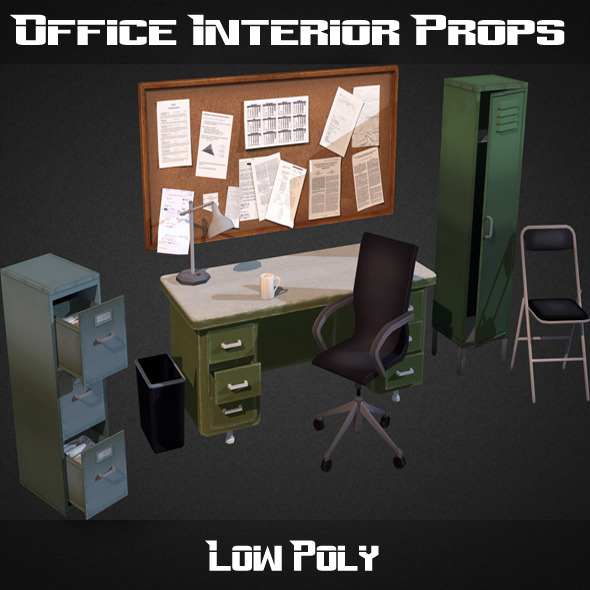 3DOcean Office Interior Props 7876247