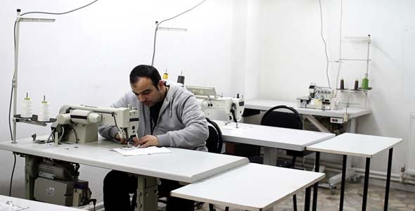 Textile Factory People Sewing