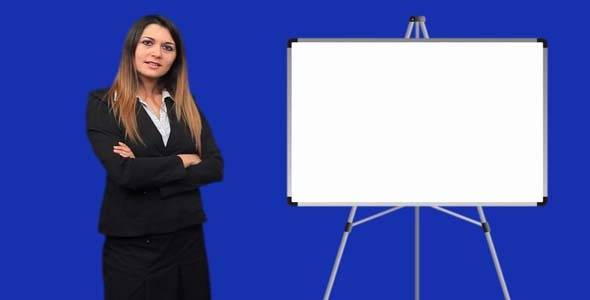 Blue Screen Business Woman Talk Board