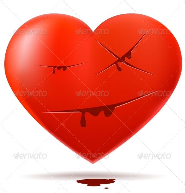 GraphicRiver Red Glossy Heart with Cuts 7877856