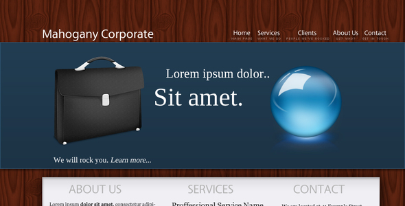 ThemeForest Mahogany Corporate Layout 33462