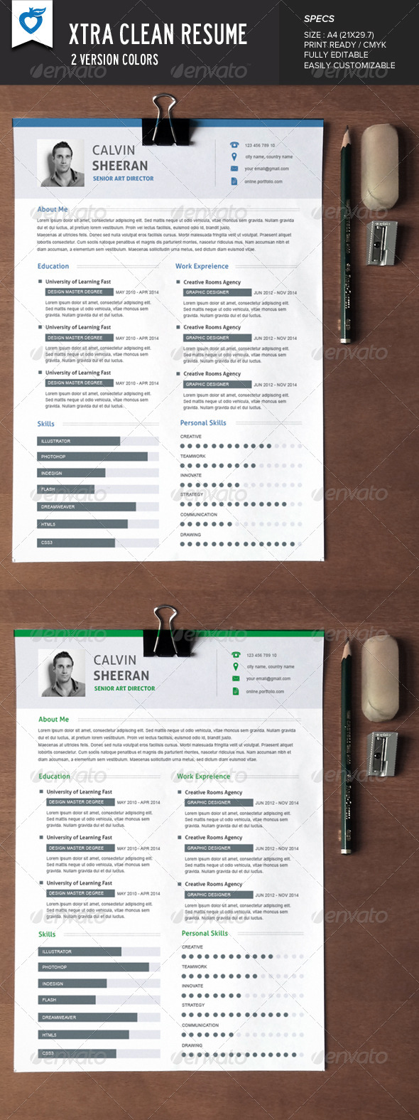 GraphicRiver Xtra Clean Resume 7878728