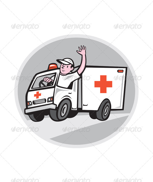 GraphicRiver Ambulance Emergency Vehicle Driver Waving Cartoon 7878734