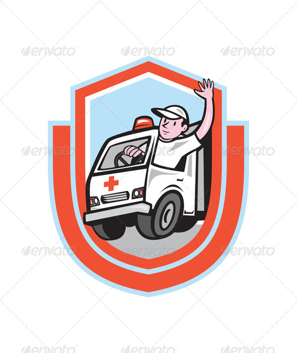 GraphicRiver Ambulance Emergency Vehicle Driver Waving Shield C 7878735
