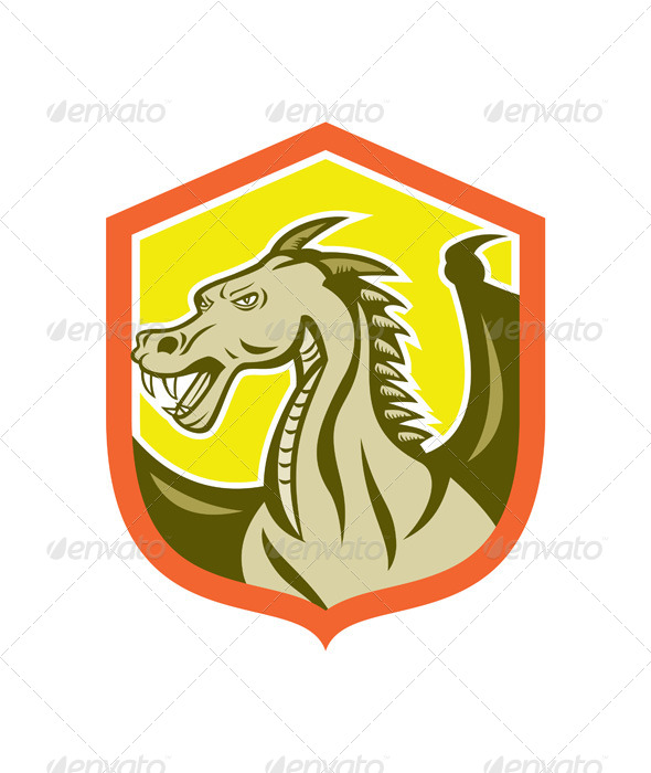 GraphicRiver Green Dragon Head Shield Cartoon 7878743