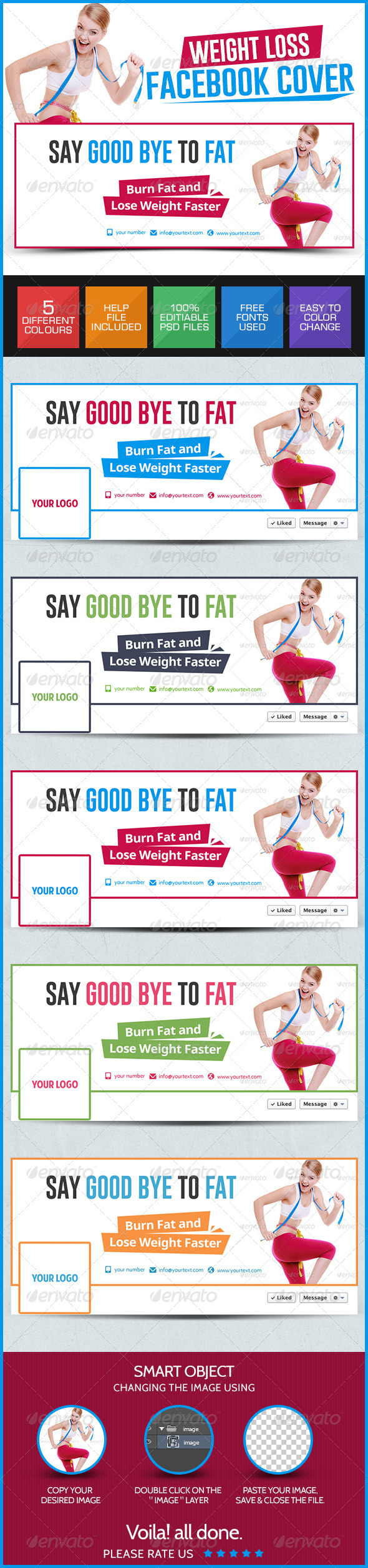 GraphicRiver Weight Loss Facebook Covers 7878750