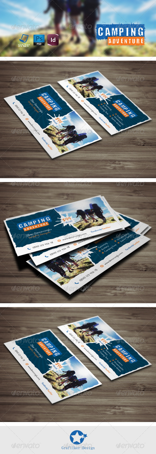 GraphicRiver Camping Adventure Business Card Templates 7878923