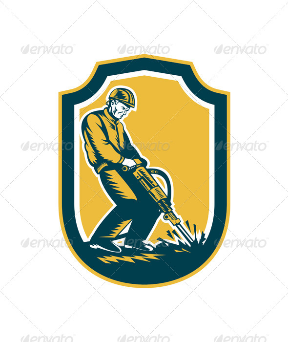 GraphicRiver Construction Worker Jackhammer Drill Shield Retro 7879228