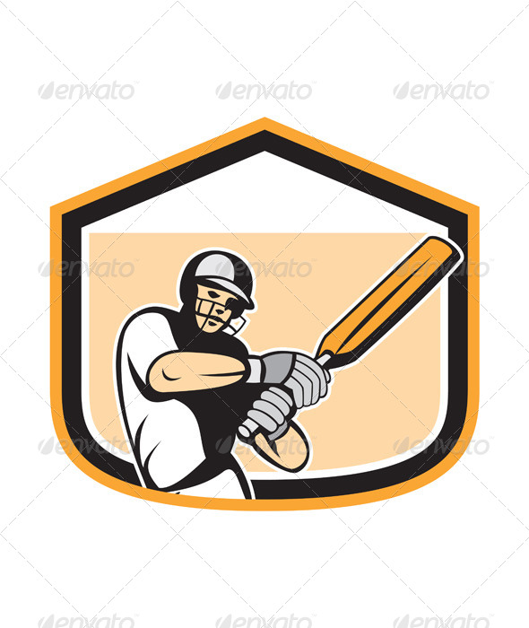 GraphicRiver Cricket Player Batsman Batting Shield Cartoon 7879230