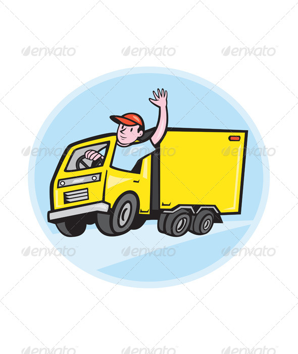 GraphicRiver Delivery Truck Driver Waving Cartoon 7879232