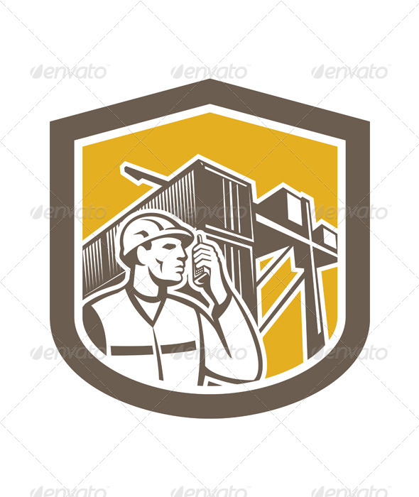 GraphicRiver Dock Worker on Phone Container Yard Shield 7879280