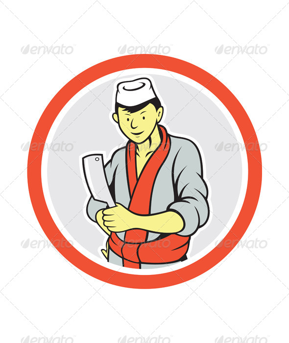 GraphicRiver Japanese Butcher Holds Meat Cleaver Cartoon 7879287
