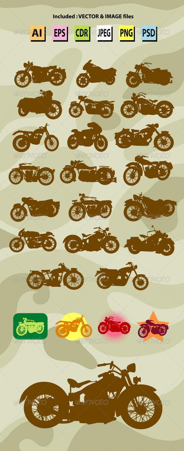 GraphicRiver Classic Motorcycle Silhouettes 7879289