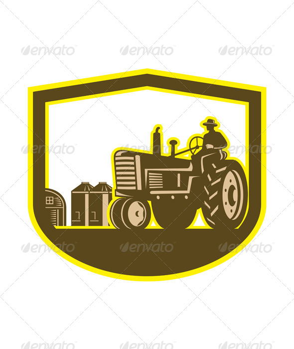 Farmer Driving Tractor Plowing Farm Retro Shield