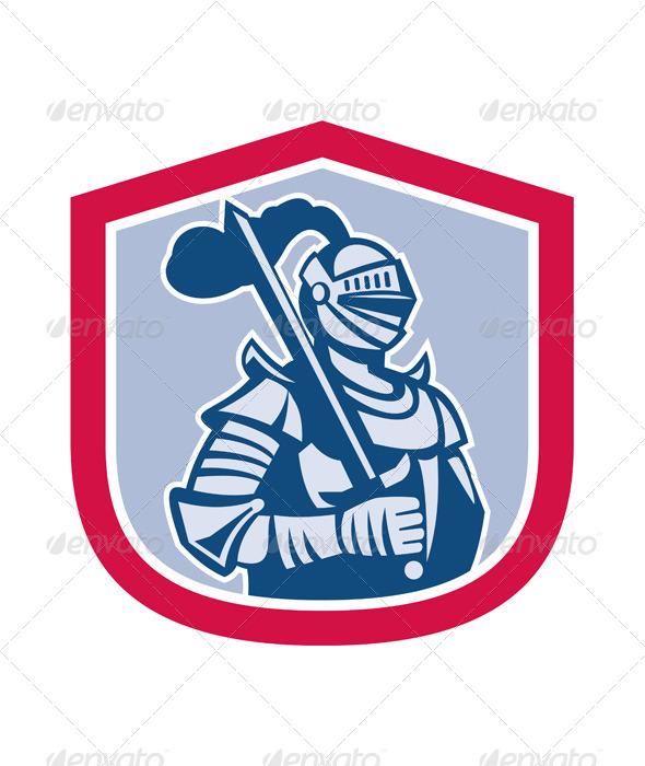 GraphicRiver Knight Full Armor with Sword Retro Shield 7879409