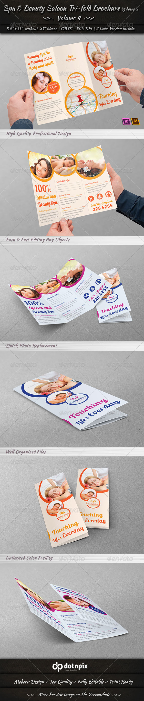 Spa & Beauty Saloon Tri-Fold Brochure Volume 4