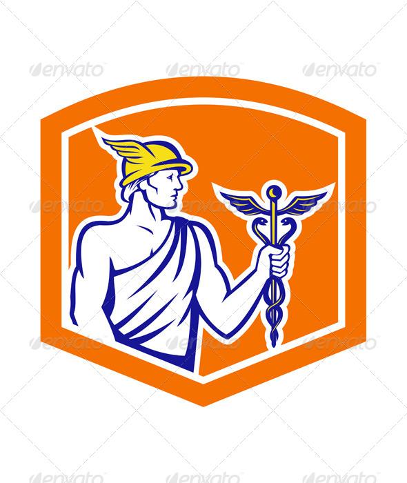 GraphicRiver Mercury Holding Caduceus Staff Retro Shield 7879443