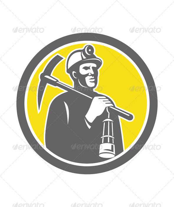 GraphicRiver Coal Miner with Pick Axe and Lamp Front Circle 7879444
