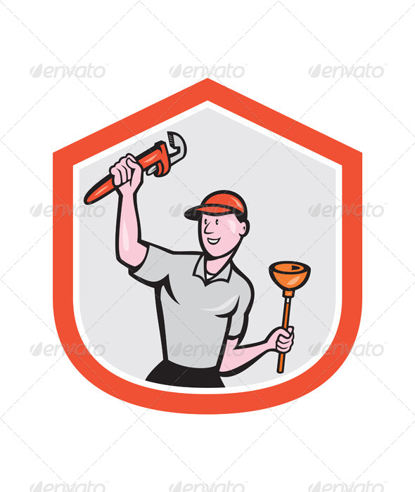 GraphicRiver Plumber Wielding Wrench Plunger Cartoon 7879449