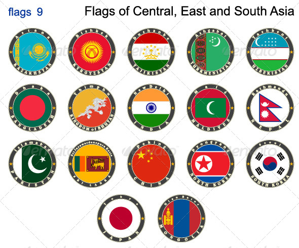 Flags of Central, East and South Asia