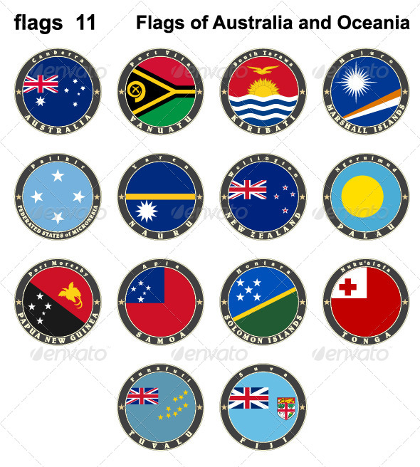 GraphicRiver Flags of Australia and Oceania 7879610