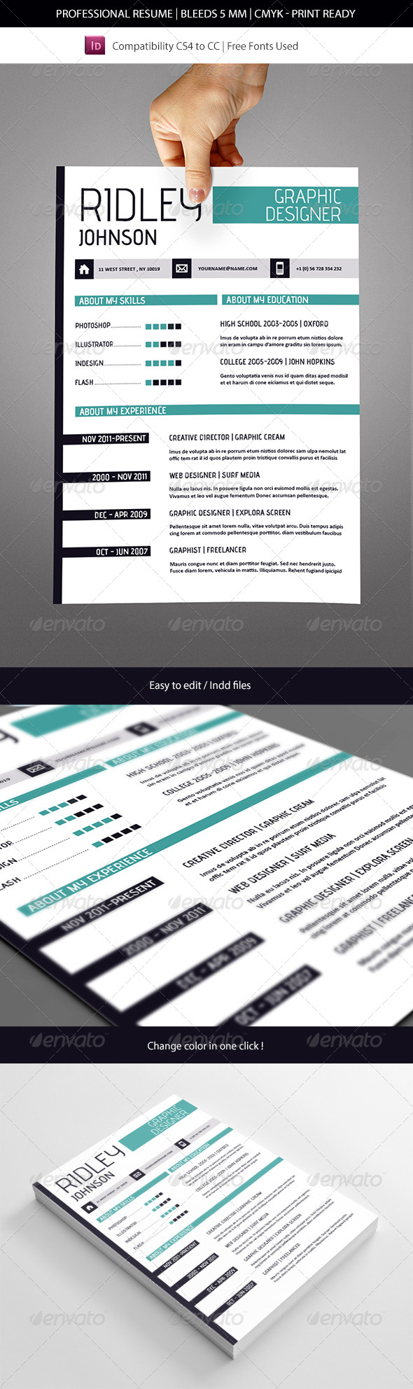 GraphicRiver Creative Indesign Resume Template 7880221
