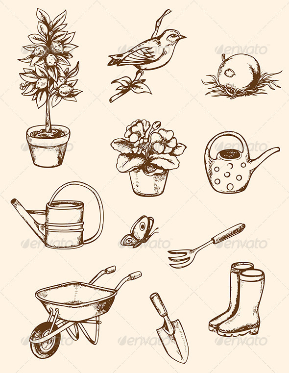 GraphicRiver Garden Tools 7880576