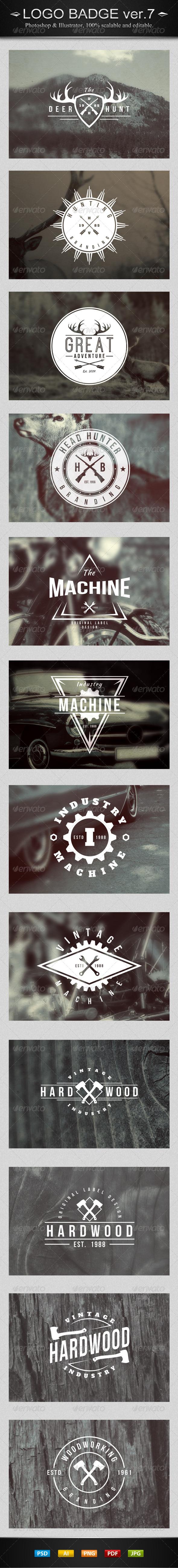 GraphicRiver 12 Vintage Logo Badges Ver.7 7880588