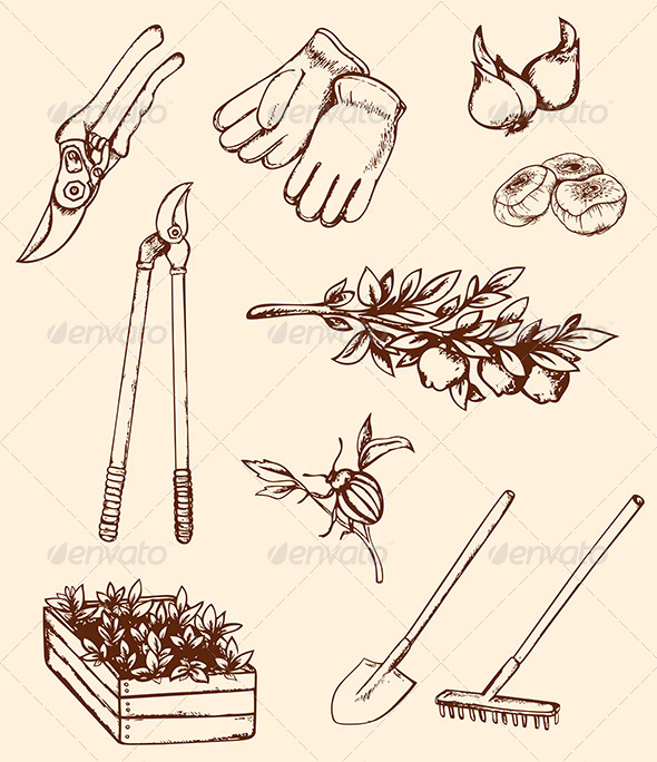 GraphicRiver Hand Drawn Garden Tools 7880599