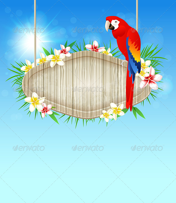 GraphicRiver Background with Red Parrot 7880836
