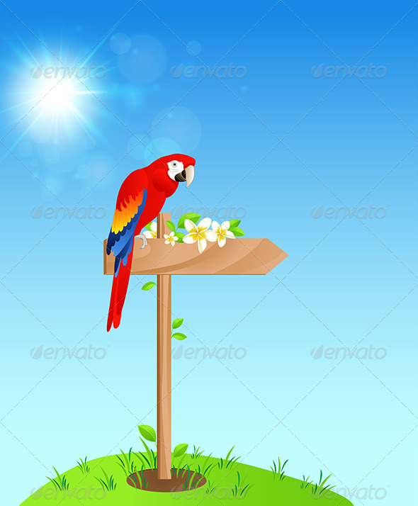 GraphicRiver Background with Red Parrot 7880954