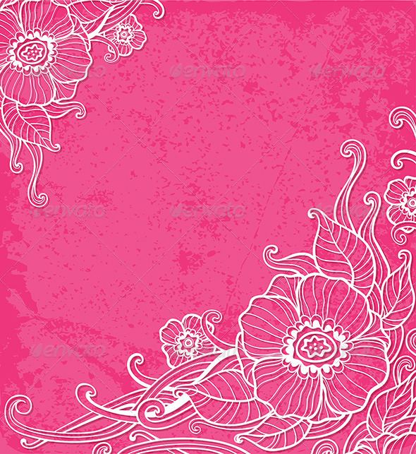 GraphicRiver Pink Background with White Flowers 7881312