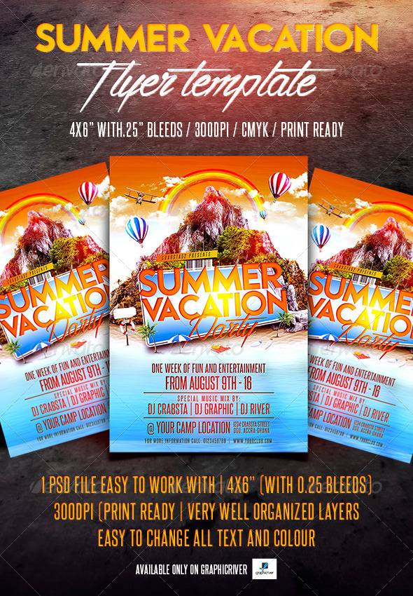 GraphicRiver Summer Vacation Party Flyer Template 7880416